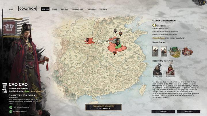 Okno wyboru Cao Cao. - Wszyscy przywódcy frakcji w Total War Three Kingdoms - Total War Three Kingdoms - poradnik do gry