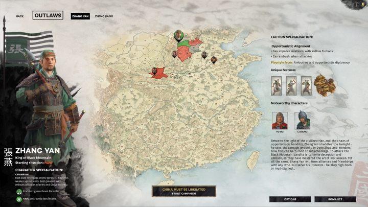 Okno wyboru Zhang Yan. - Wszyscy przywódcy frakcji w Total War Three Kingdoms - Total War Three Kingdoms - poradnik do gry