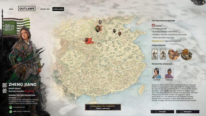 Okno selekcji Zheng Jiang. - Wszyscy przywódcy frakcji w Total War Three Kingdoms - Total War Three Kingdoms - poradnik do gry