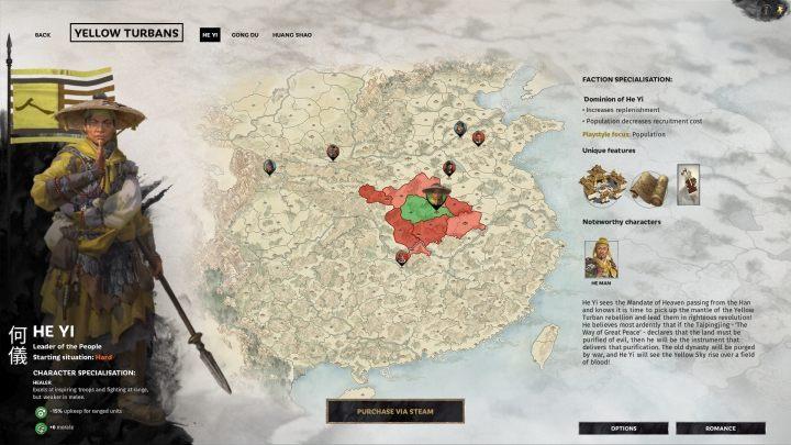 Okno wyboru He Yi. - Wszyscy przywódcy frakcji w Total War Three Kingdoms - Total War Three Kingdoms - poradnik do gry