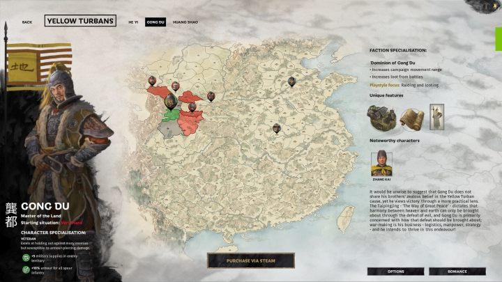 Okno selekcji Gong Du. - Wszyscy przywódcy frakcji w Total War Three Kingdoms - Total War Three Kingdoms - poradnik do gry