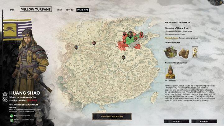 Okno wyboru Huang Shao. - Wszyscy przywódcy frakcji w Total War Three Kingdoms - Total War Three Kingdoms - poradnik do gry