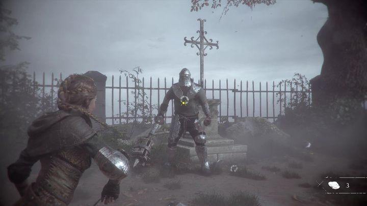 На этом этапе боя вам нужно всего лишь загрузить шлем - Как победить рыцаря в конце главы 2 в «Чумной истории»? - Чумная невинность - Руководство по игре