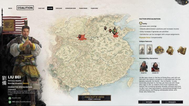 Okno selekcji Liu Bei. - Wszyscy przywódcy frakcji w Total War Three Kingdoms - Total War Three Kingdoms - poradnik do gry