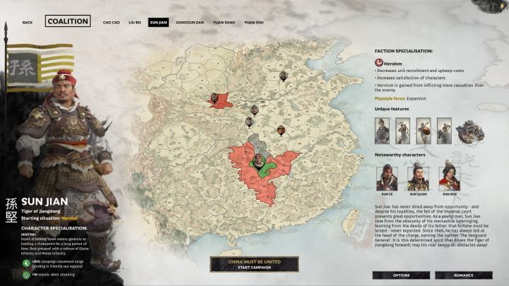 Okno wyboru Sun Jian. - Wszyscy przywódcy frakcji w Total War Three Kingdoms - Total War Three Kingdoms - poradnik do gry
