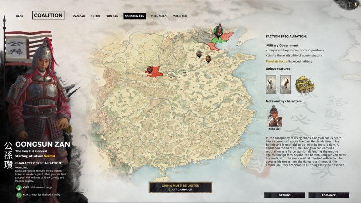 Okno wyboru Gongsun Zan. - Wszyscy przywódcy frakcji w Total War Three Kingdoms - Total War Three Kingdoms - poradnik do gry