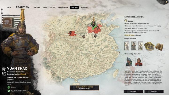 Okno selekcji Yuan Shao. - Wszyscy przywódcy frakcji w Total War Three Kingdoms - Total War Three Kingdoms - poradnik do gry