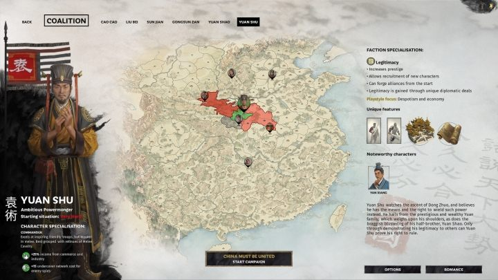 Okno wyboru Yuan Shu. - Wszyscy przywódcy frakcji w Total War Three Kingdoms - Total War Three Kingdoms - poradnik do gry