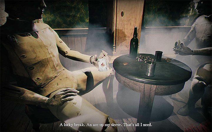 Подойди к двум манекенам, играющим в карты - Головоломка в спальне   Решение загадки в Layers of Fear 2 - Layers of Fear 2 - Руководство по игре