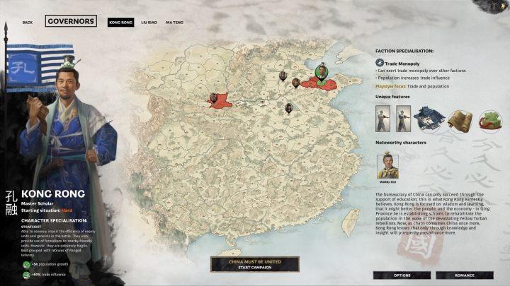 Okno selekcji Kong Rong. - Wszyscy przywódcy frakcji w Total War Three Kingdoms - Total War Three Kingdoms - poradnik do gry