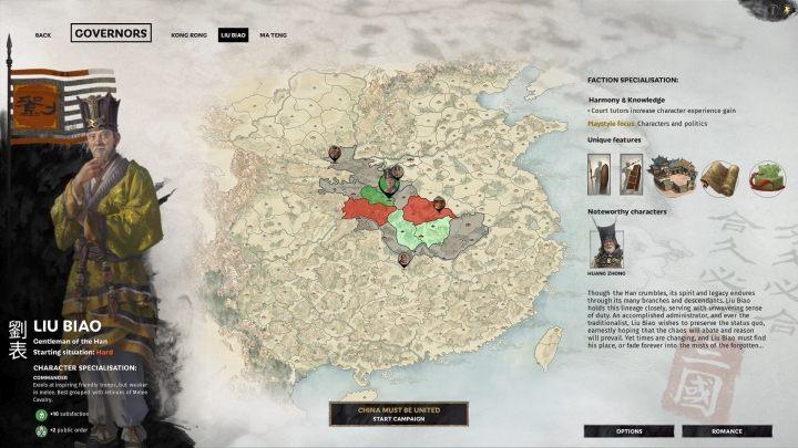 Okno wyboru Liu Biao. - Wszyscy przywódcy frakcji w Total War Three Kingdoms - Total War Three Kingdoms - poradnik do gry