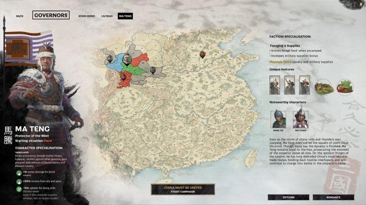 Okno selekcji Ma Teng. - Wszyscy przywódcy frakcji w Total War Three Kingdoms - Total War Three Kingdoms - poradnik do gry
