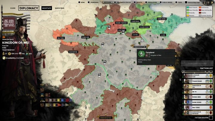 Domyślnie, okno dyplomacji pokazuje relacje Twojej frakcji z innymi. - Dyplomacja i handel w Total War Three Kingdoms - Total War Three Kingdoms - poradnik do gry