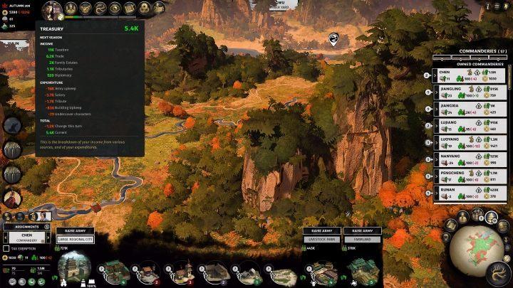 Вы можете проверить уровень хранилища, проникнув в золотой значок, расположенный в верхнем левом углу экрана. - Золото в Total War Three Kingdoms - Руководство по игре и прохождение игры