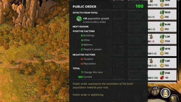 В списке коммандос вы можете проверить уровень общественного порядка внутри каждого из них. - Общественный порядок в Total War Three Kingdoms - Руководство по игре и прохождение игры