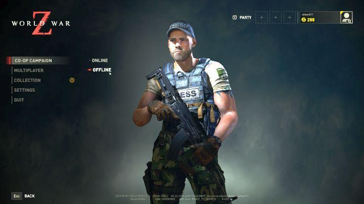You can decide to play in offline mode from the main menu screen. - Can you play World War Z offline? - FAQ - World War Z Guide
