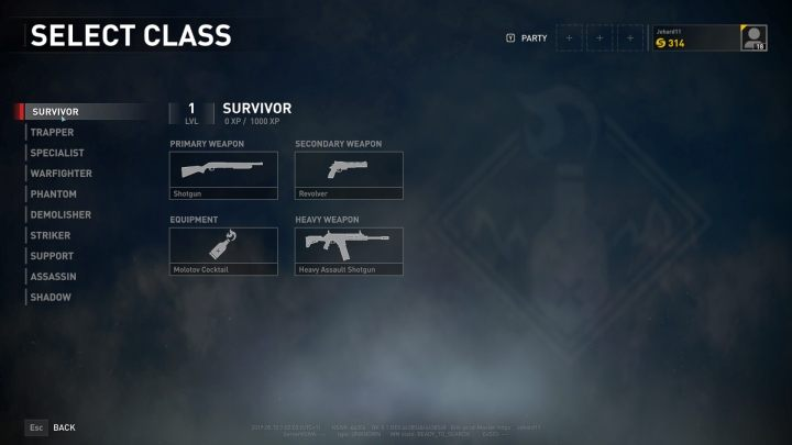 The Survivor class selection screen. - Player vs Player World War Z - character classes - Player vs Player mode - World War Z Guide