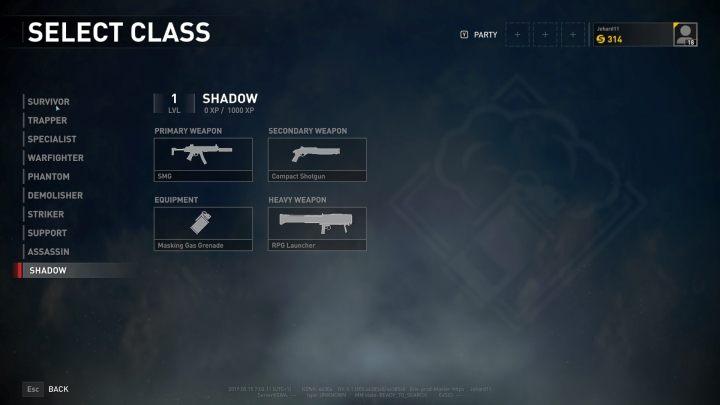The Shadow class selection screen. - Player vs Player World War Z - character classes - Player vs Player mode - World War Z Guide