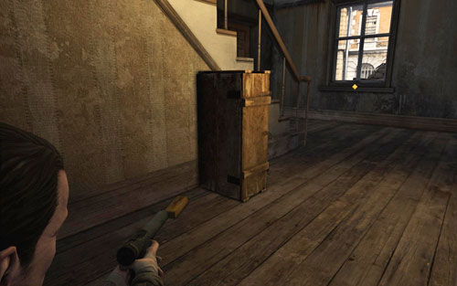 When you reach your second target after killing the German soldier, go down the first stairs on the left [#6] - Mission 1   Wine Bottles and Gold Bars - Wine Bottles and Gold Bars - Sniper Elite V2 Game Guide & Walkthrough