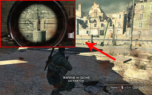 On the wooden stake of the pier [#1] - you will pass by it at the very beginning of the mission - Mission 8   Wine Bottles and Gold Bars - Wine Bottles and Gold Bars - Sniper Elite V2 Game Guide & Walkthrough