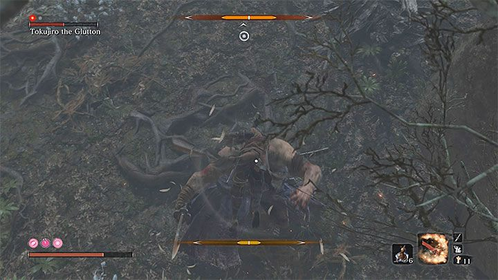 Once the monkeys are dead, move away from the mini-boss to calm him down - Tokujiro will go back to his post - Tokujiro the Glutton   Sekiro Shadows Die Twice Boss Fight - Bosses - Sekiro Guide and Walkthrough