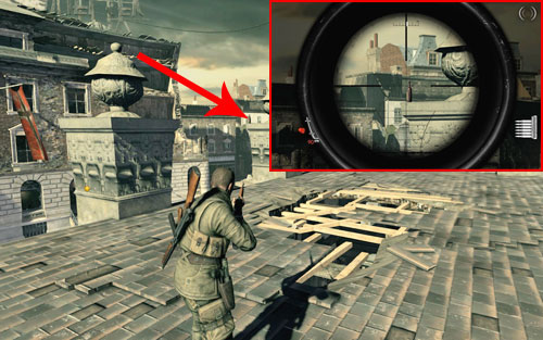 On one of the pillars of the destroyed middle object on the square [#3] - you should get onto it using the crates placed right beside - Mission 8   Wine Bottles and Gold Bars - Wine Bottles and Gold Bars - Sniper Elite V2 Game Guide & Walkthrough