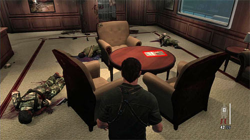 SECRET 6 [Clue 4/8 - Discarded Newspaper]: On the round table in room where enemies tried to break through the wall - Clues and Golden Guns - Chapter XI - Collectibles - Max Payne 3 - Game Guide and Walkthrough