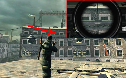 On the ledge of the building [#4] you need to reach to find the documents, its best to head onto the destroyed object in the middle of the square, from where you will have a good view of the bottle - Mission 8   Wine Bottles and Gold Bars - Wine Bottles and Gold Bars - Sniper Elite V2 Game Guide & Walkthrough