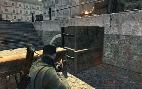 The gold bar can be found behind the crates on the pier [#1] which you will pass by - go down the stairs - Mission 8   Wine Bottles and Gold Bars - Wine Bottles and Gold Bars - Sniper Elite V2 Game Guide & Walkthrough