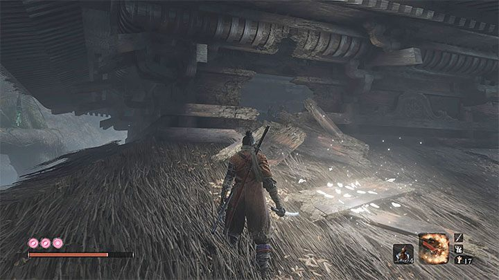 The hole in the rooftop (presented in the picture above) is on one of the sides of the building - Mist Noble   Sekiro Shadows Die Twice Boss Fight - Bosses - Sekiro Guide and Walkthrough