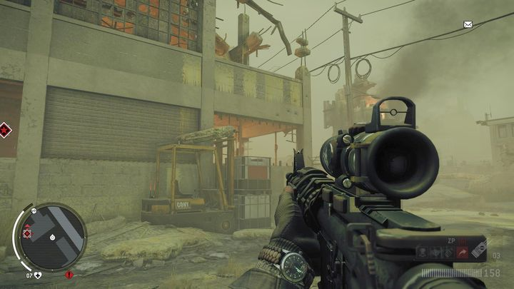 Go to the back of the building and find the place presented in the screenshot - Lombard - Red zone | Key Points - Key Points - Homefront: The Revolution Game Guide & Walkthrough