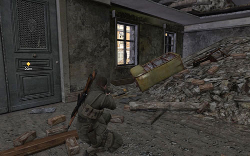 After going down a collapsed fragment onto the lower floor [#7], to the right you will find a fridge - the gold is right behind it - Mission 1   Wine Bottles and Gold Bars - Wine Bottles and Gold Bars - Sniper Elite V2 Game Guide & Walkthrough