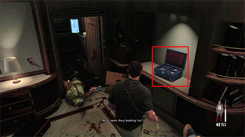 SECRET 9 [Clue 7/8 - Daphnes Jewelry Box]: On the cupboard in the last searched side cabins (with enemies) - Clues and Golden Guns - Chapter XI - Collectibles - Max Payne 3 - Game Guide and Walkthrough