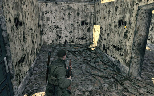Inside the first building on the left [#2] which you will pass by after going round the pier - Mission 8   Wine Bottles and Gold Bars - Wine Bottles and Gold Bars - Sniper Elite V2 Game Guide & Walkthrough