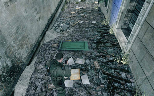 Right before the entrance to the tunnel, on the left you will find a narrow street - the gold can be found behind the building [#3] - Mission 8   Wine Bottles and Gold Bars - Wine Bottles and Gold Bars - Sniper Elite V2 Game Guide & Walkthrough