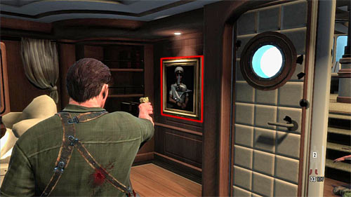 SECRET 10 [Golden Gun - AK-47 1/3]: In the safe, hid behind the painting, on the left from passage to the captains bridge - Clues and Golden Guns - Chapter XI - Collectibles - Max Payne 3 - Game Guide and Walkthrough