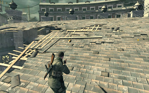 On the slightly destroyed object in the middle of the square [#5] - where you can find two tunnels - Mission 8   Wine Bottles and Gold Bars - Wine Bottles and Gold Bars - Sniper Elite V2 Game Guide & Walkthrough