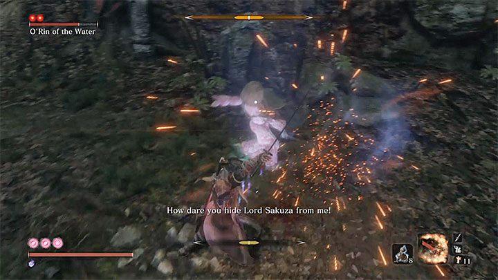Сосредоточьтесь на том, чтобы отразить атаки Орин Воды - Орин Воды   Sekiro Shadows Die Twice Boss Fight - Боссы - Руководство по Sekiro и прохождение игры