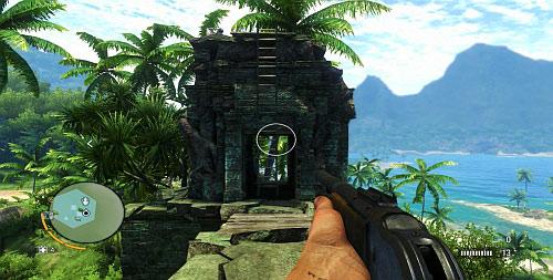 Находясь сверху, разбейте стену, которая блокирует дальнейший проход, и идите к башне слева - Северный остров - Южная часть - Объекты культа - Far Cry 3 - Руководство по игре и прохождение игры