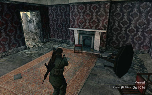 On the second floor of the second building you visit while looking for the documents - Mission 8   Wine Bottles and Gold Bars - Wine Bottles and Gold Bars - Sniper Elite V2 Game Guide & Walkthrough