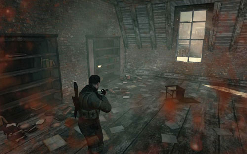 After reaching the top of the building using the stairs, turn right - the Gold Bar is on the cupboard [#9] inside the room - Mission 8   Wine Bottles and Gold Bars - Wine Bottles and Gold Bars - Sniper Elite V2 Game Guide & Walkthrough
