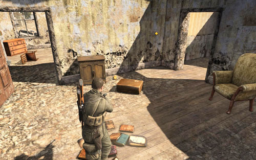 The gold is behind a cabinet, in one of the rooms of the building [#8] guarded by an enemy - Mission 1   Wine Bottles and Gold Bars - Wine Bottles and Gold Bars - Sniper Elite V2 Game Guide & Walkthrough