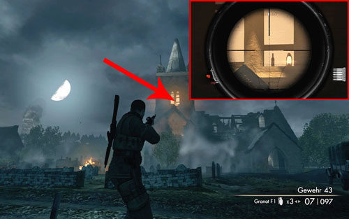 At the top of the church tower [#1], in one of the windows - Mission 9   Wine Bottles and Gold Bars - Wine Bottles and Gold Bars - Sniper Elite V2 Game Guide & Walkthrough