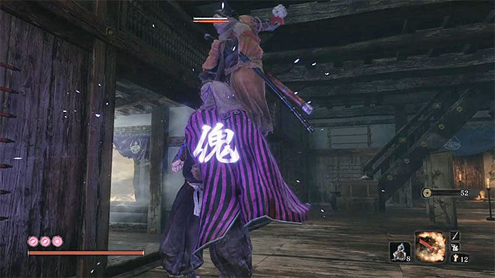 Start to crawl up in stealth even before entering the hall with the boss - Lonely Shadow Vilehand   Sekiro Shadows Die Twice Boss Fight - Bosses - Sekiro Guide and Walkthrough