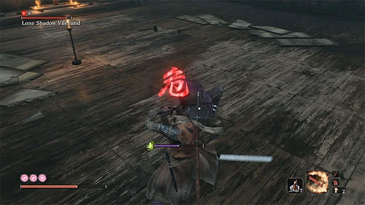The boss fight will be more classic only after purple assistant will be eliminated - Lonely Shadow Vilehand   Sekiro Shadows Die Twice Boss Fight - Bosses - Sekiro Guide and Walkthrough