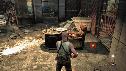 SECRET 10 [Golden Gun - FMP G3S Rifle 3/3]: Behind the armchair in the lower sector, where you plant C4 on red pillars - Clues and Golden Guns - Chapter XII - Collectibles - Max Payne 3 - Game Guide and Walkthrough
