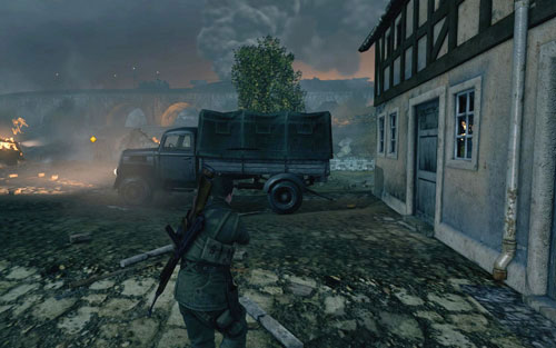 Behind the truck [#3] found to the right of the starting point - Mission 9   Wine Bottles and Gold Bars - Wine Bottles and Gold Bars - Sniper Elite V2 Game Guide & Walkthrough