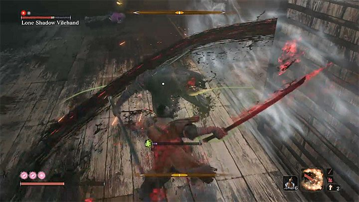 A very good attack to weaken the boss is the Mortal Draw, which you can set as an active Combat Art - Lonely Shadow Vilehand   Sekiro Shadows Die Twice Boss Fight - Bosses - Sekiro Guide and Walkthrough