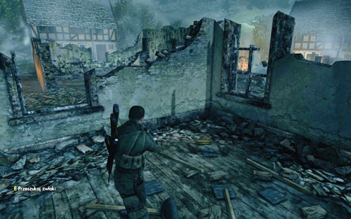 Inside one of the burned buildings [#4] beside the street - Mission 9   Wine Bottles and Gold Bars - Wine Bottles and Gold Bars - Sniper Elite V2 Game Guide & Walkthrough