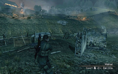 Before the trenches, behind a small wall right beside the second barbed wire [#5] - Mission 9   Wine Bottles and Gold Bars - Wine Bottles and Gold Bars - Sniper Elite V2 Game Guide & Walkthrough
